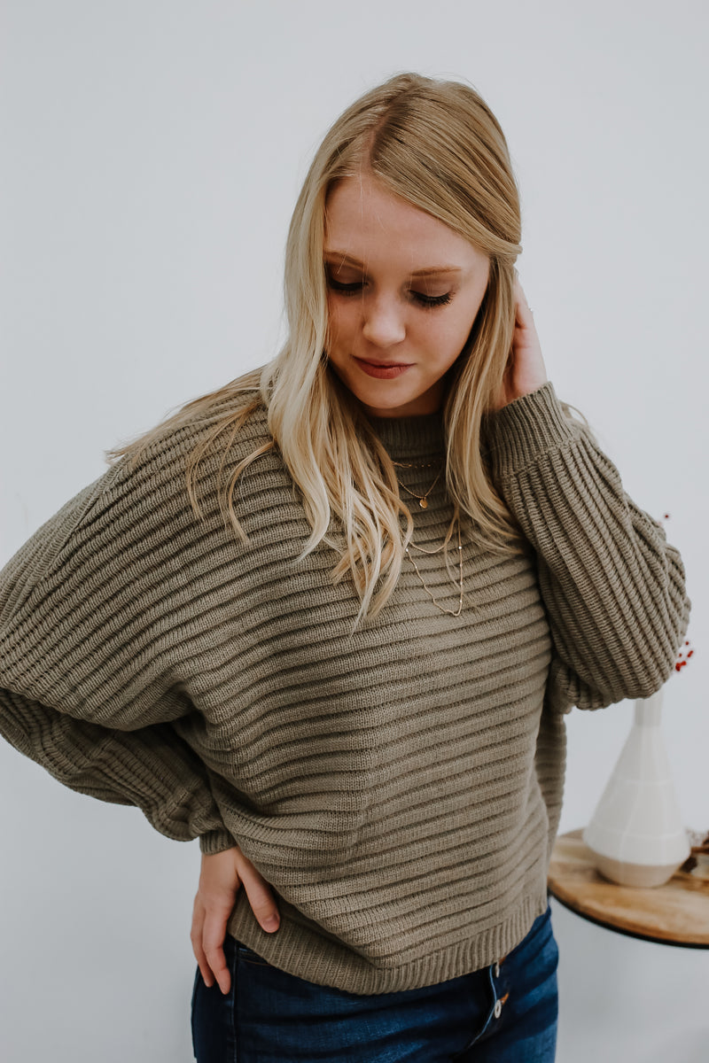 Long Dolman Sleeve Wide Ribbed Knit Sweater | Stylish & Affordable | UOI Online