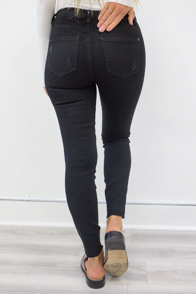 Distressed Black Denim - Online Clothing Boutique