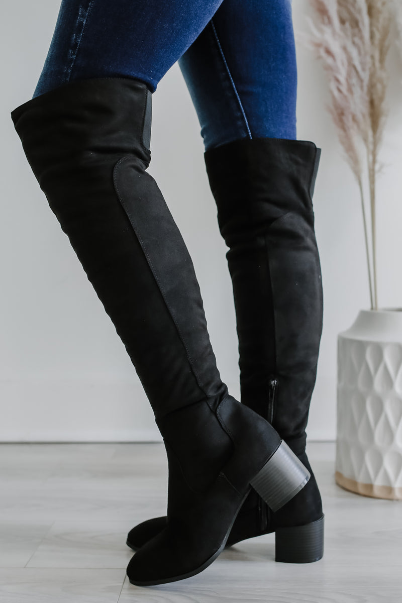 Faux Suede Over The Knee Boots | Stylish & Affordable | UOI Online