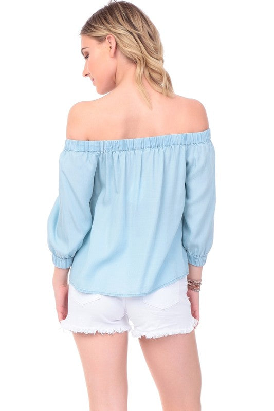 Elastic Off The Shoulder Top - Online Clothing Boutique