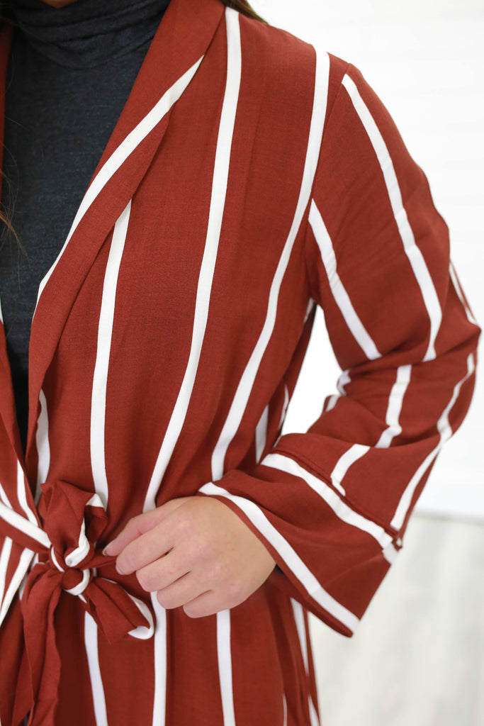 Striped Duster Jacket - Online Clothing Boutique
