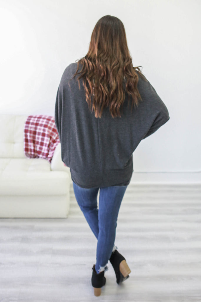 Oversized Dolman Sleeve Top - Online Clothing Boutique