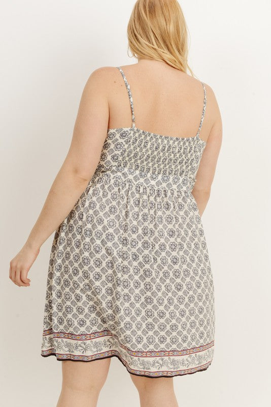 Plus Size Abstract Print Dress - Online Clothing Boutiuqe