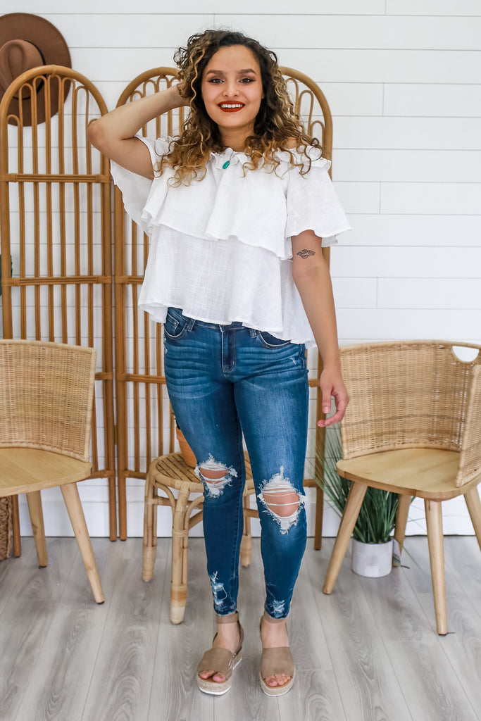 Off The Shoulder Ruffled Gauze Top | Stylish & Affordable | UOI Online