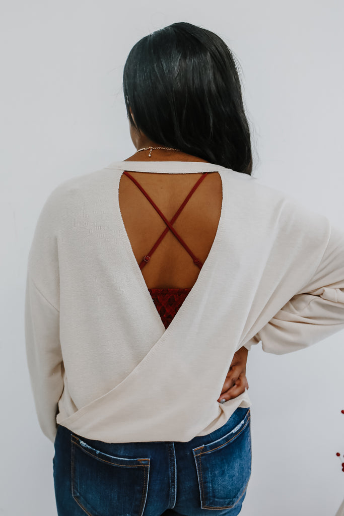 Long Sleeve Twist Back Crop Top | Stylish & Affordable | UOI Online