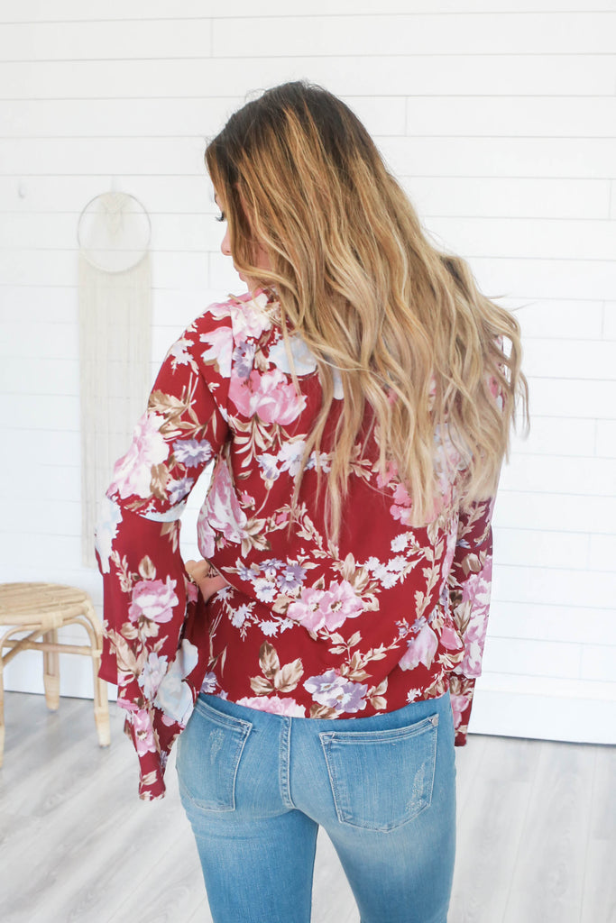 Floral Bell Sleeve Top - Online Clothing Boutique