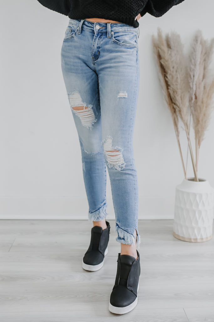 Mid Rise Skinny Fit Reverse Hem Denim | Stylish & Affordable | UOI Online