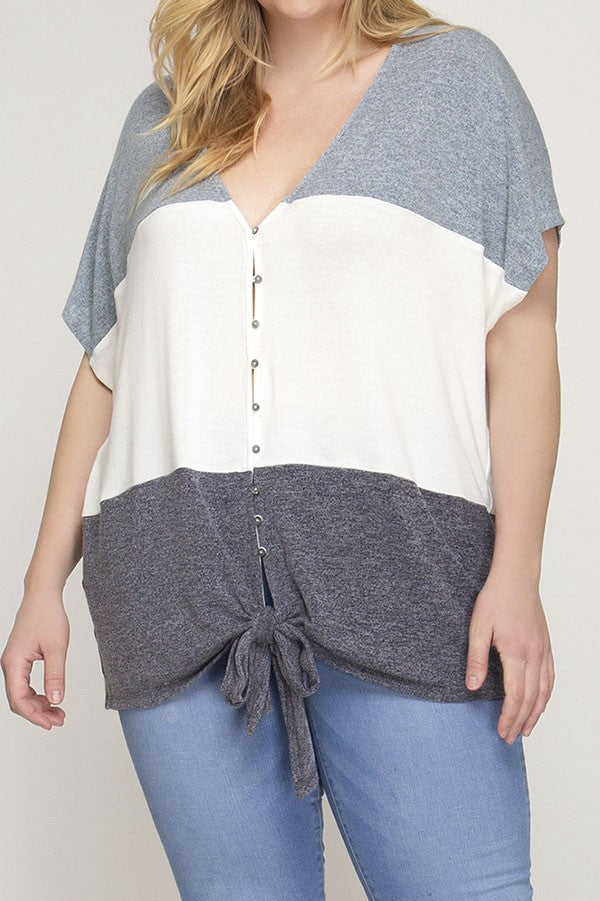 Plus Size Color Block Top - Online Clothing Boutique