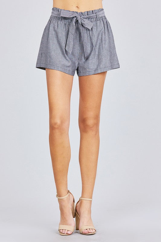Striped Paper Bag Waist Shorts - Online Clothing Boutique