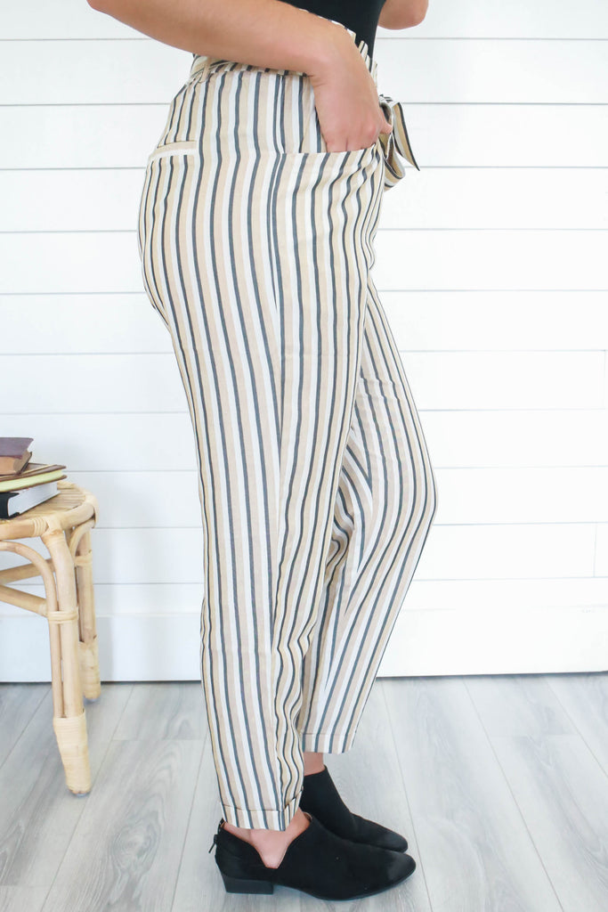 Striped Cigarette Pants - Online Clothing Boutique