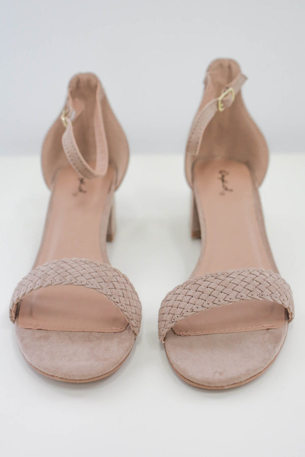Woven Faux Suede Heels - Online Clothing Boutique