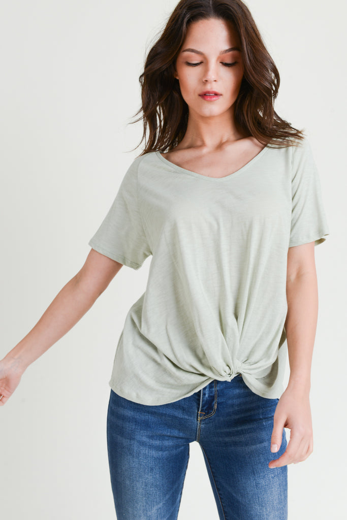 Short Sleeve Twist Front Top - Online Clothing Boutique