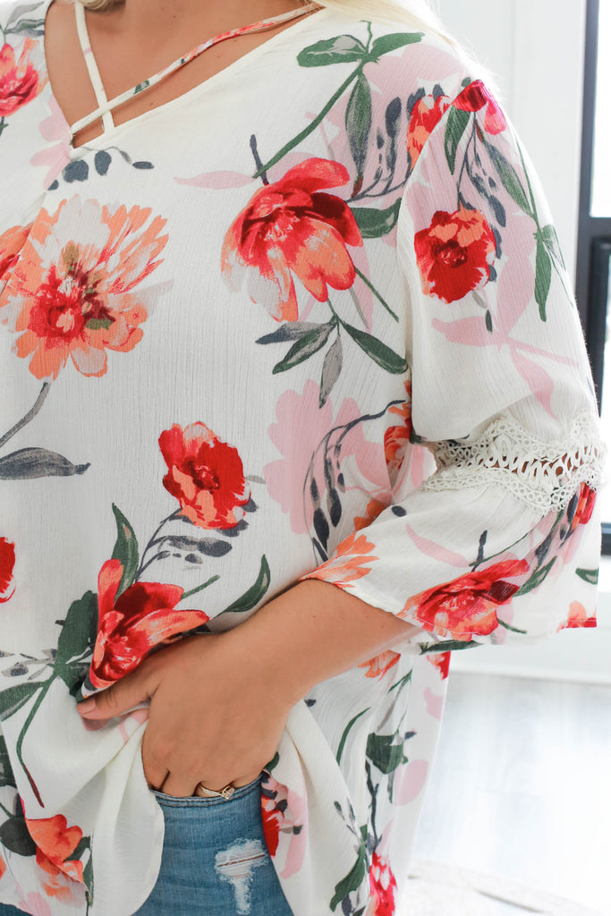 Plus Size Floral Top - Online Clothing Boutique