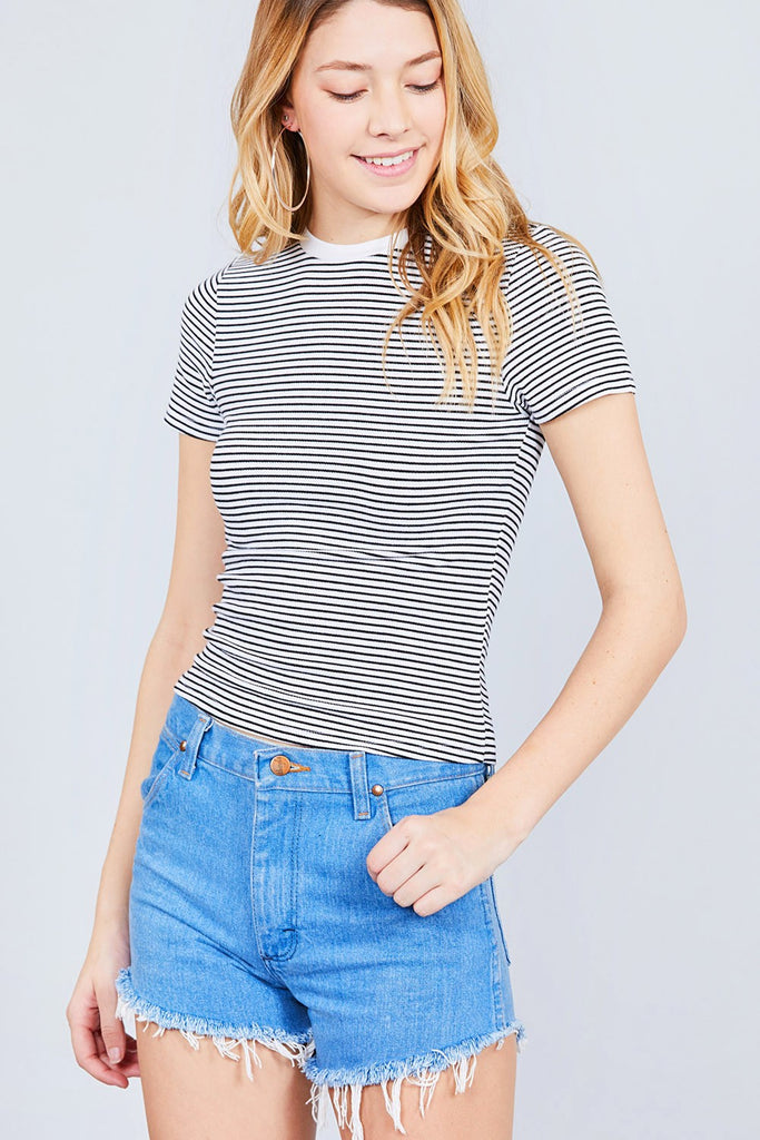 Striped Crop Top - Online Clothing Boutique