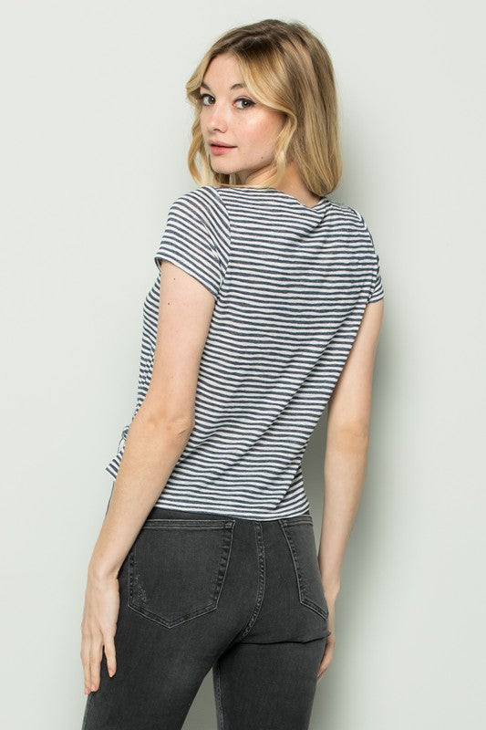 Striped Slub Knit Wrap Top - Online Clothing Boutique