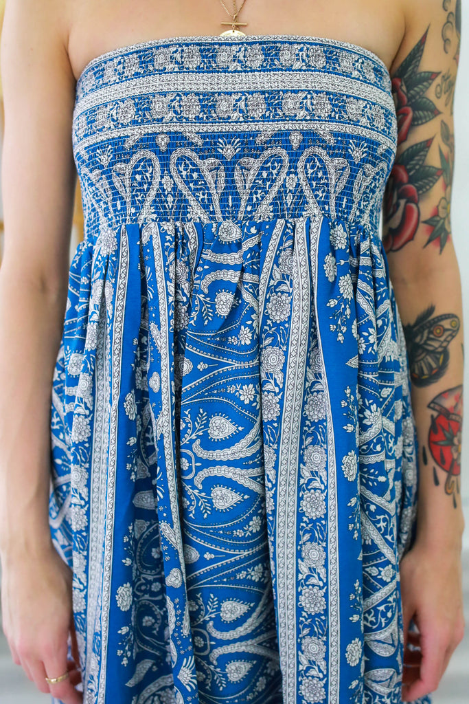 Tube Top Paisley Print Tiered Dress - Online Clothing Boutique
