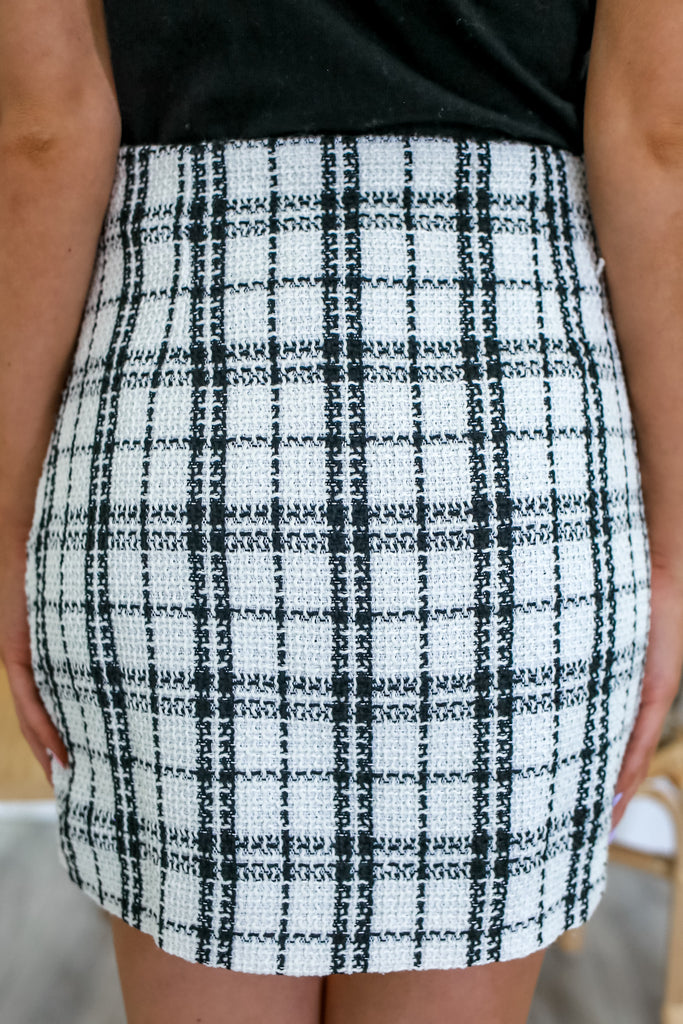 Woven Plaid Mini Skirt | Stylish & Affordable | UOI Online