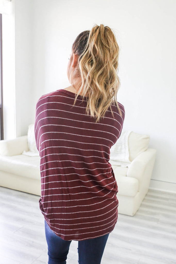 Striped Long Sleeve Button Down Top - Online Clothing Boutique