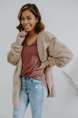 Long Sleeve Hooded Faux Fur Cardigan | Stylish & Affordable | UOI Online
