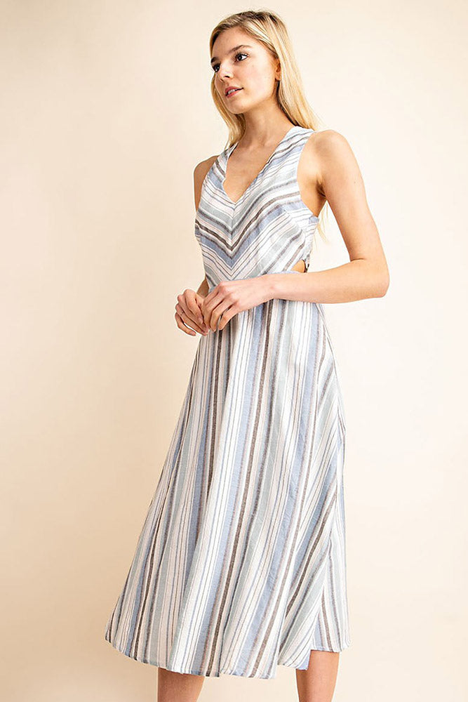 Striped V-Neck Midi Dress - Online Clothing Boutique