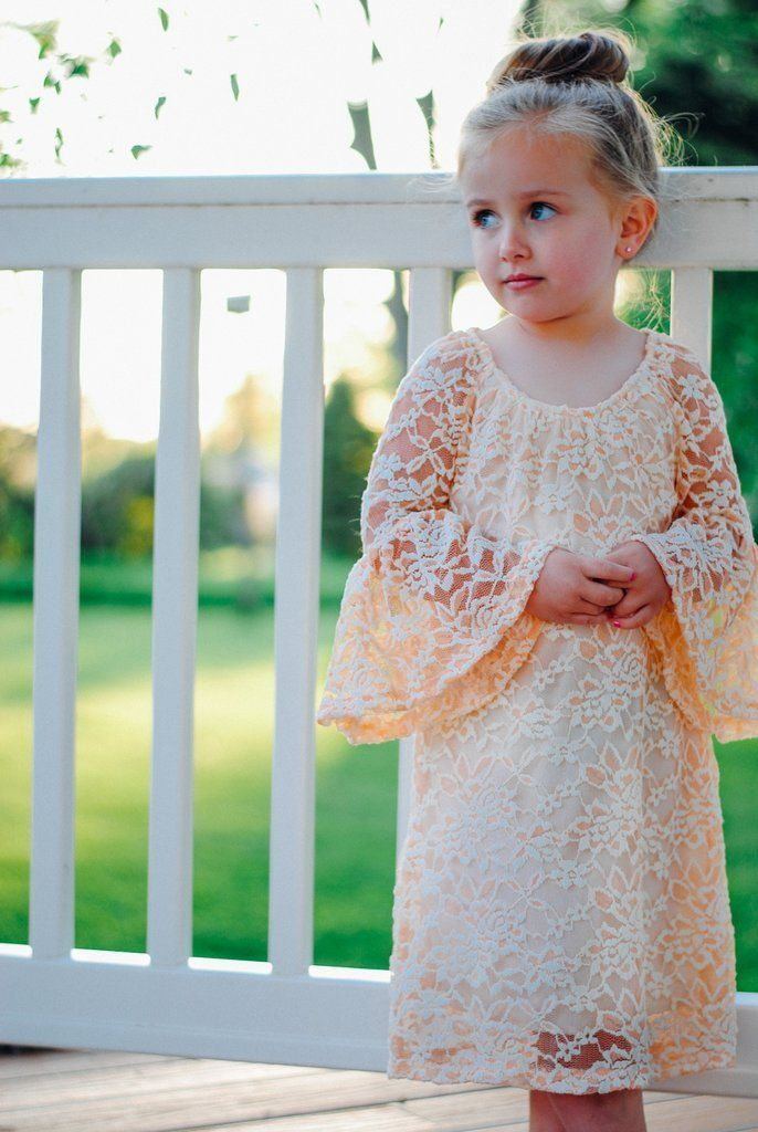 Kids Peach Bell Sleeve Shift Dress