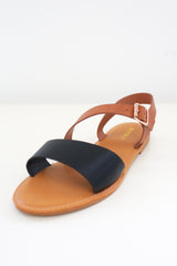 Faux Leather Two-Tone Sandals - Online Clothing Boutique