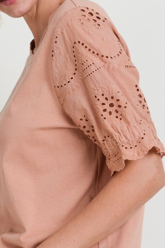 Lace Eyelet Sleeve Top - Online Clothing Boutique