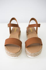 Faux Leather Platform Sandals - Online Clothing Boutique