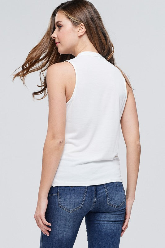 Sleeveless Surplice Front Top - Online Clothing Boutique