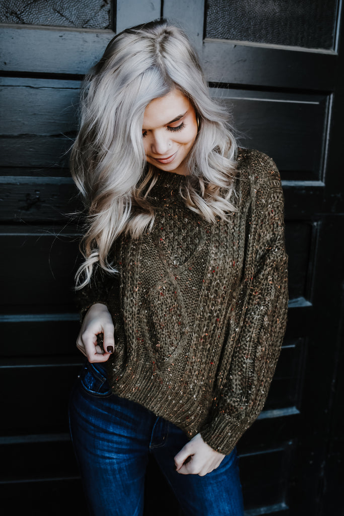Balloon Sleeve Cropped Confetti Knit Sweater | Stylish & Affordable | UOI Online