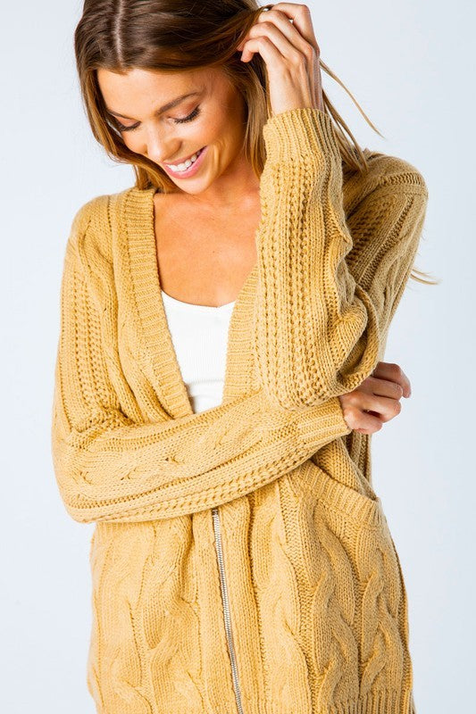 Cable Knit Zip-Up Cardigan | Stylish & Affordable | UOI Online