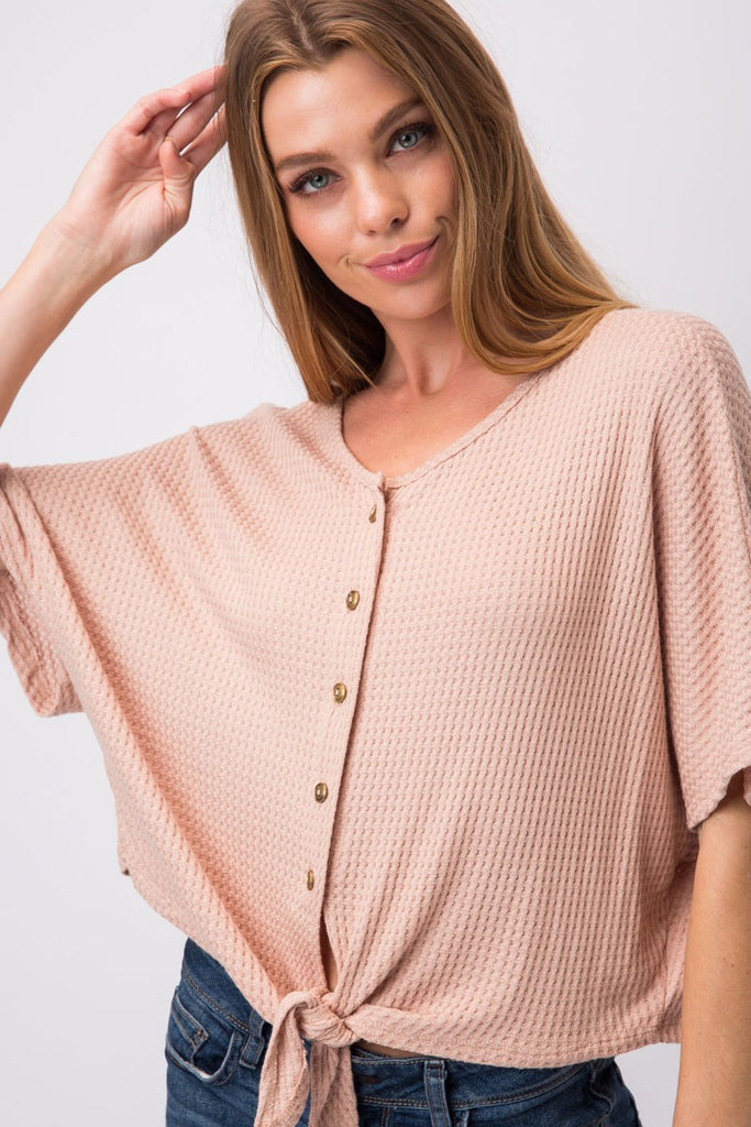 Waffle Knit Self Tie Top - Online Clothing Boutique