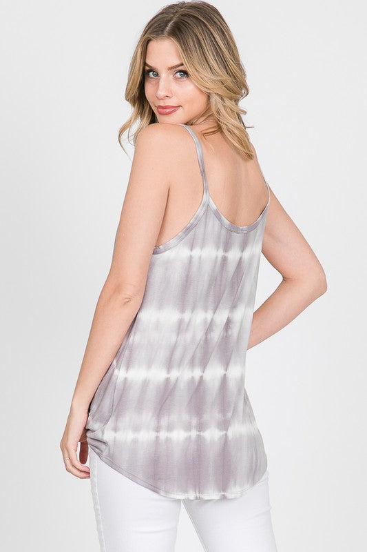 Tie Dye Twist Front Tank - Online Clothing Boutique