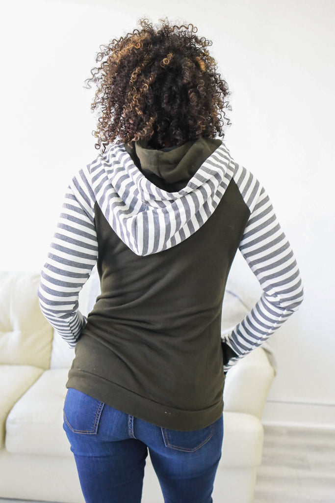Striped Hooded Sweatshirt - Online Clothing Boutique