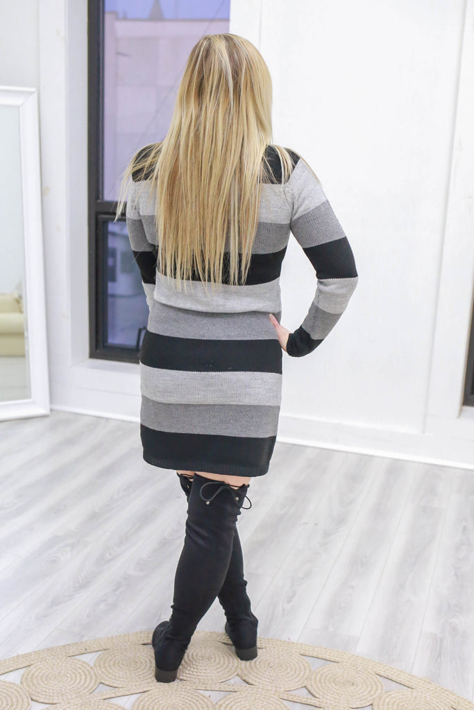 Striped Sweater Dress - Online Clothing Boutique