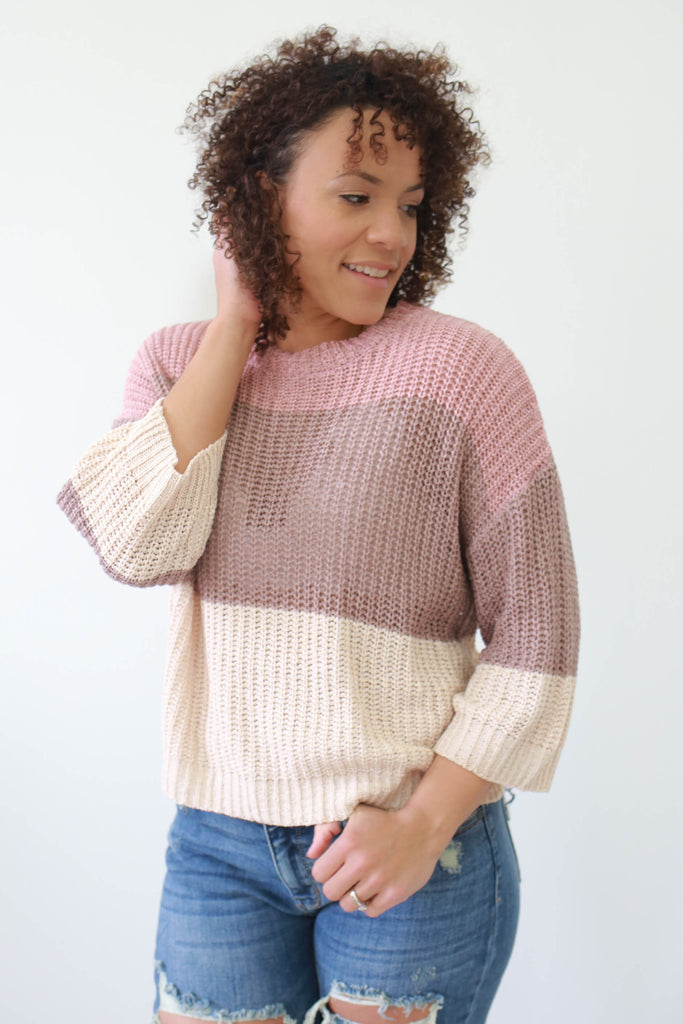 Color Block Knit Sweater - Online Clothing Boutique