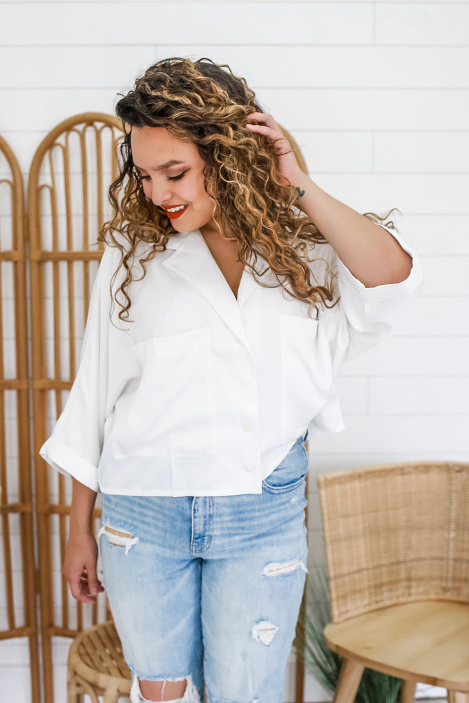 Button Up Satin Like Crop Top | Stylish & Affordable | UOI Online