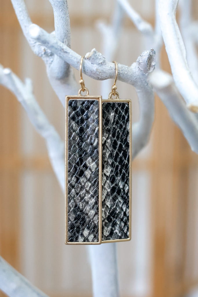 Rectangle Snake Print Earrings | Stylish & Affordable | UOI Online