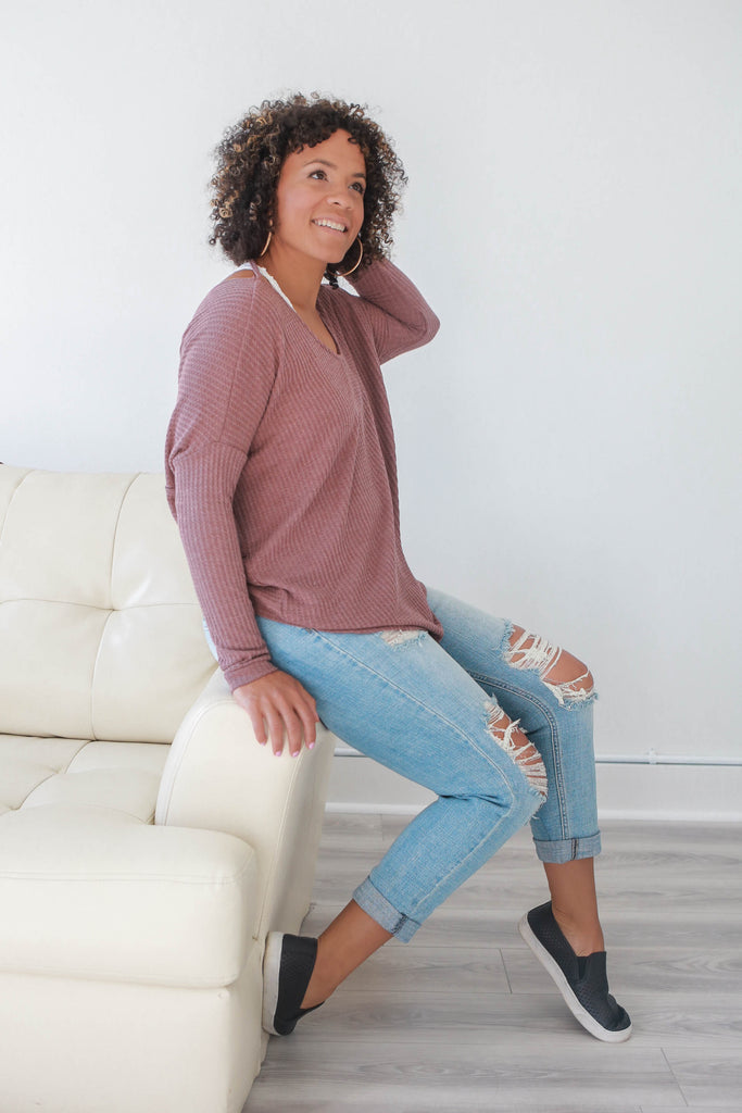 Twisted Back Waffle Knit Top - Online Clothing Boutique