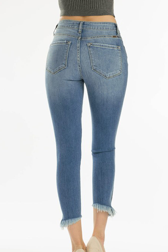High Rise Distressed Cropped Denim - Online Clothing Boutique