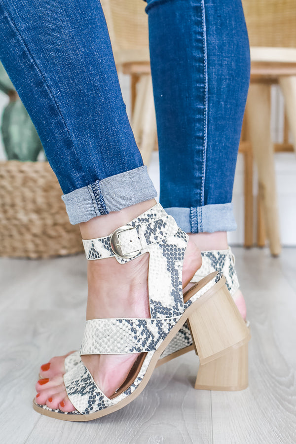 Faux Leather Snakeskin Block Heels | Stylish & Affordable | UOI Online