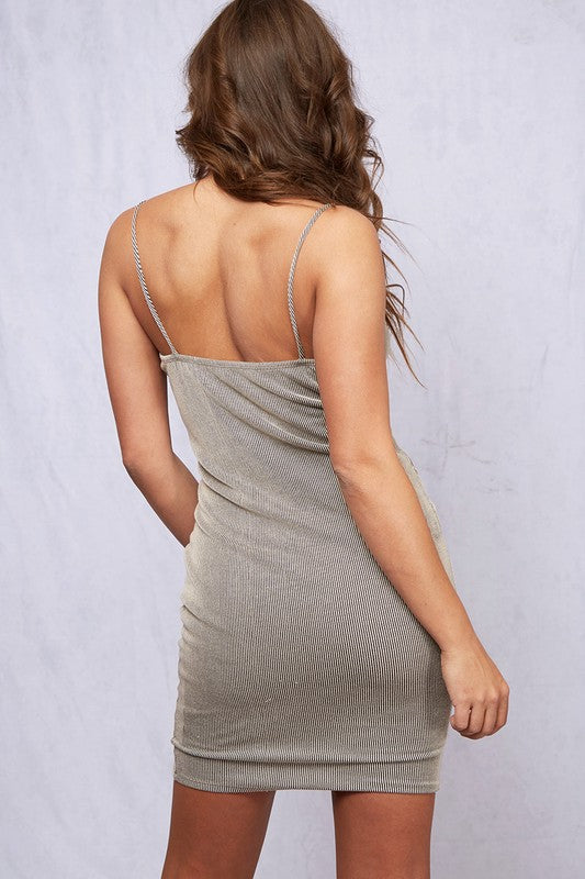 Ribbed Cami Strap Dress - Online Clothing Boutique