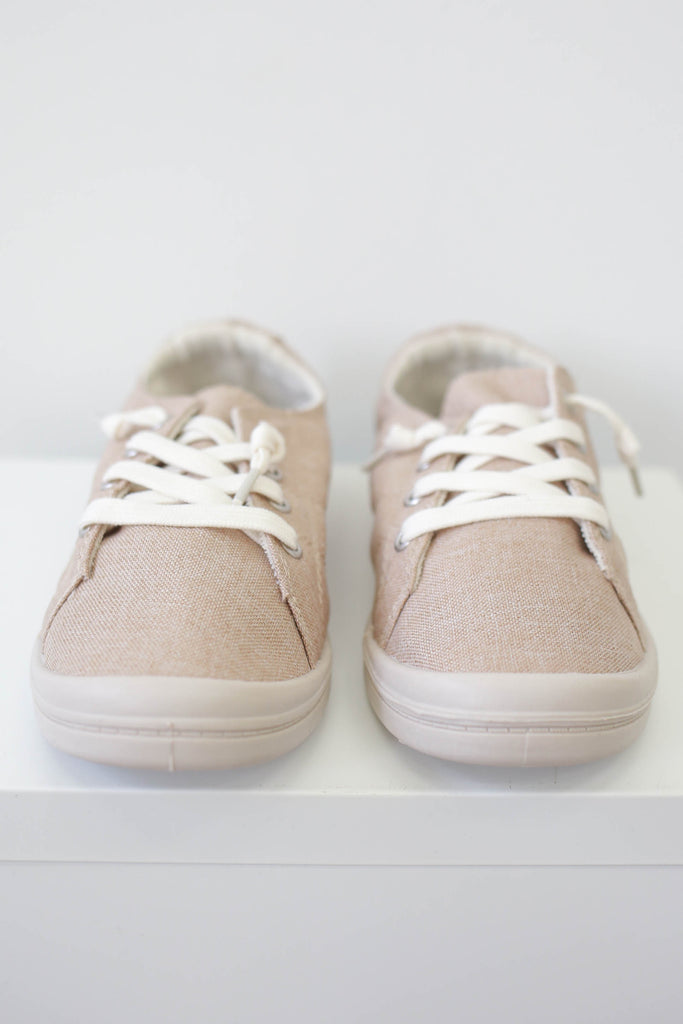 Lace Up Linen Sneakers - Online Clothing Boutique