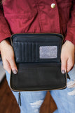 Black Faux Leather Zipper Closure Wallet