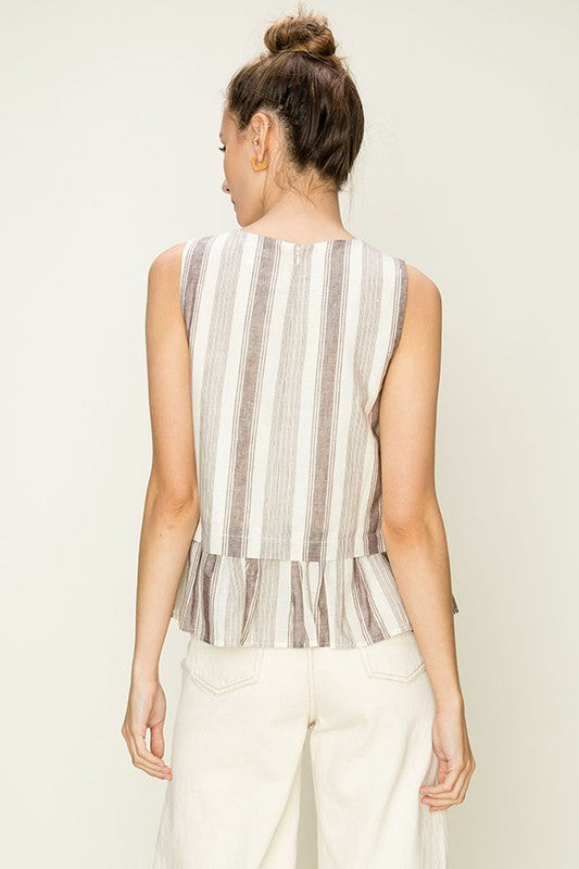 Striped Ruffled Top - Online Clothing Boutique