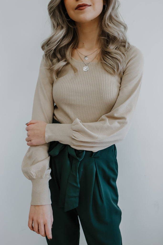 Long Balloon Sleeve Ribbed Cropped Sweater | Stylish & Affordable | UOI Online