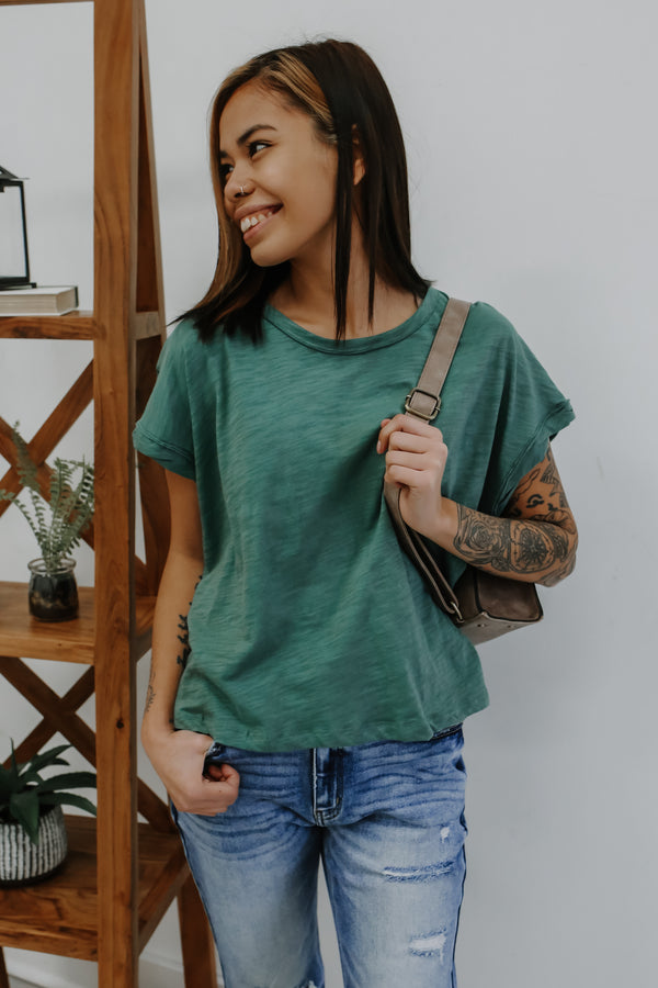 Short Dolman Sleeve Slub Knit Tee | Stylish & Affordable | UOI Online