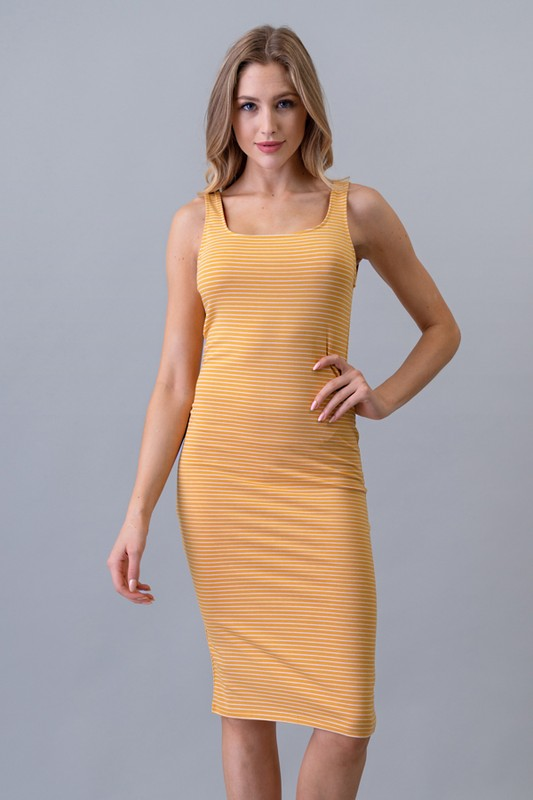Striped Bodycon Midi Dress - Online Clothing Boutique