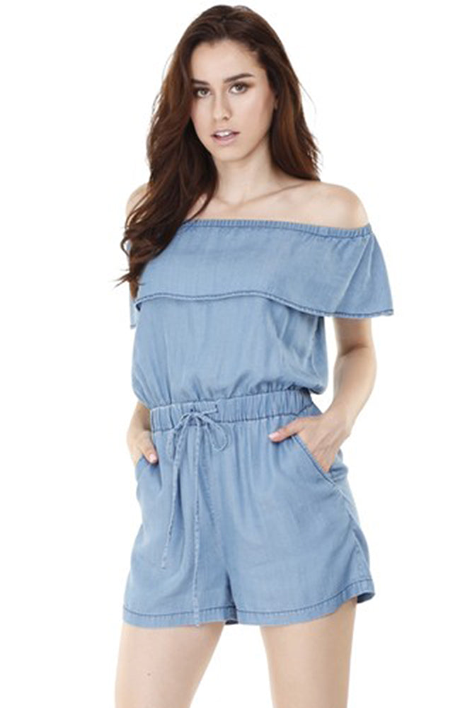 Off The Shoulder Chambray Romper - Online Clothing Boutique
