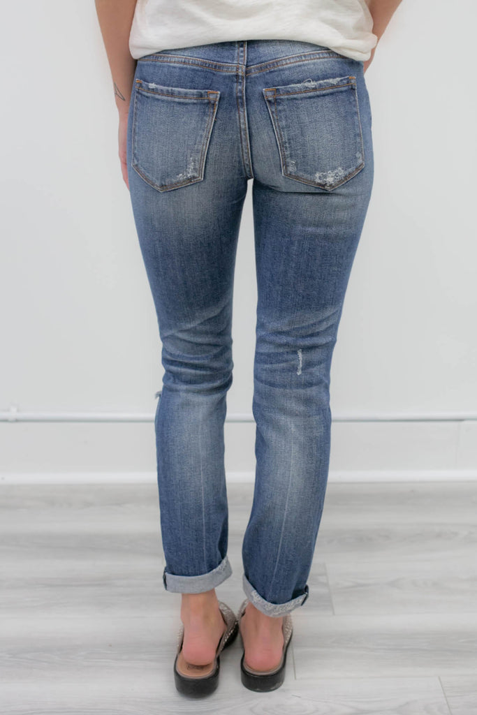 Mid-Rise Distressed Denim - Online Clothing Boutique